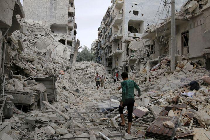 Stadtviertel von Aleppo nach Bombardement
