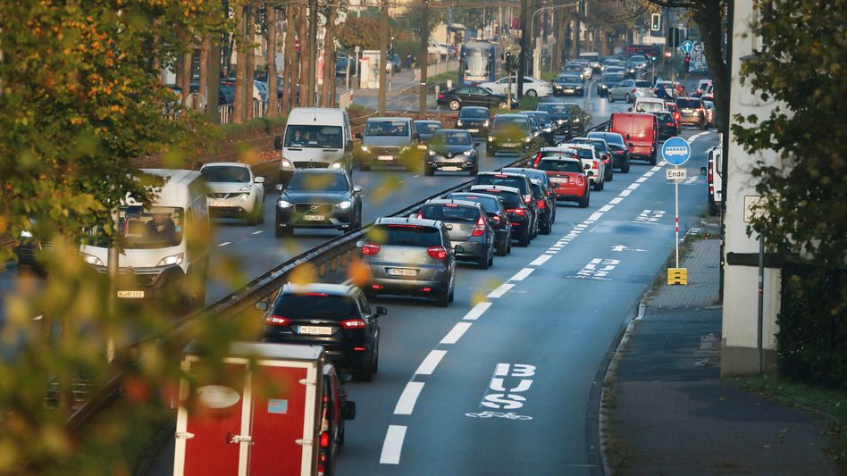 Nichts los auf der Umweltspur in Düsseldorf