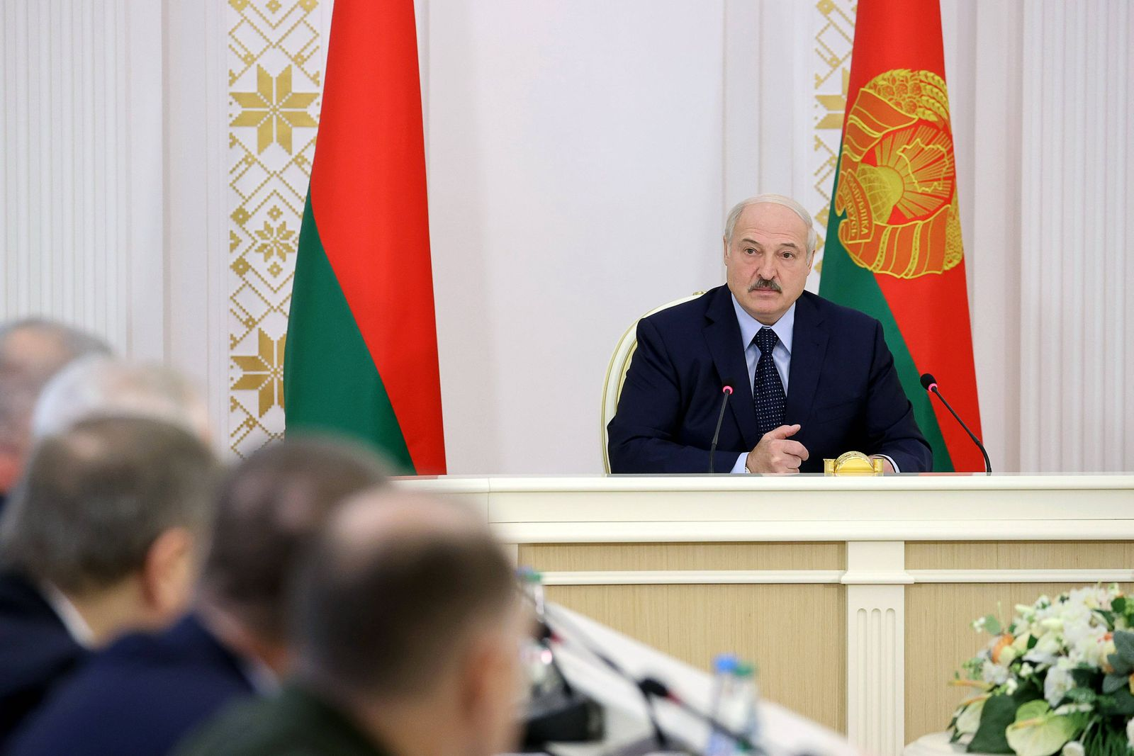 MINSK, BELARUS - OCTOBER 9, 2020: Belarus President Alexander Lukashenko during a meeting on the country s current issu