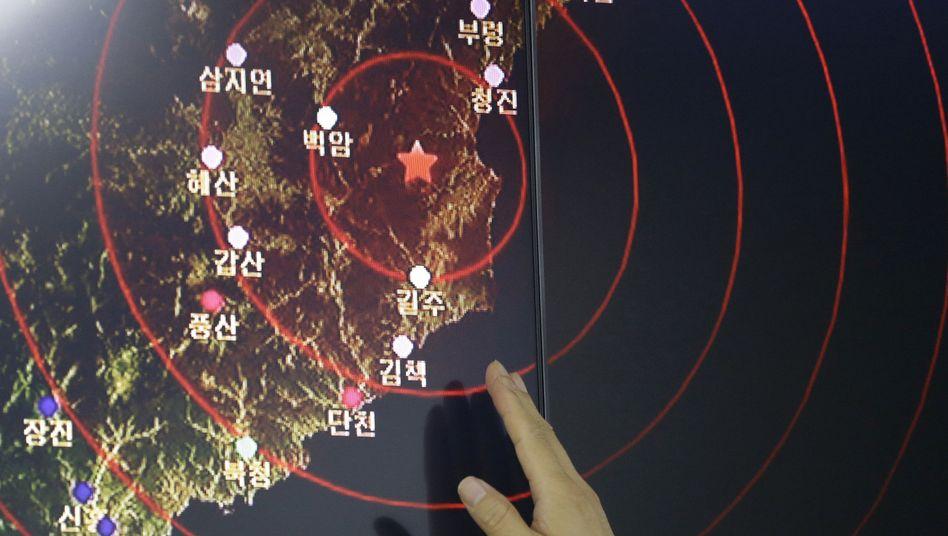 Erdbebenanzeige auf Monitor in Südkorea