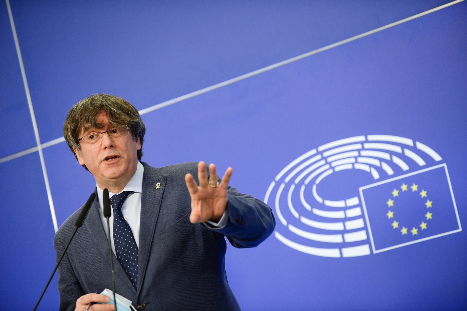 Former members of the Catalan government speak at the European Parliament in Brussels