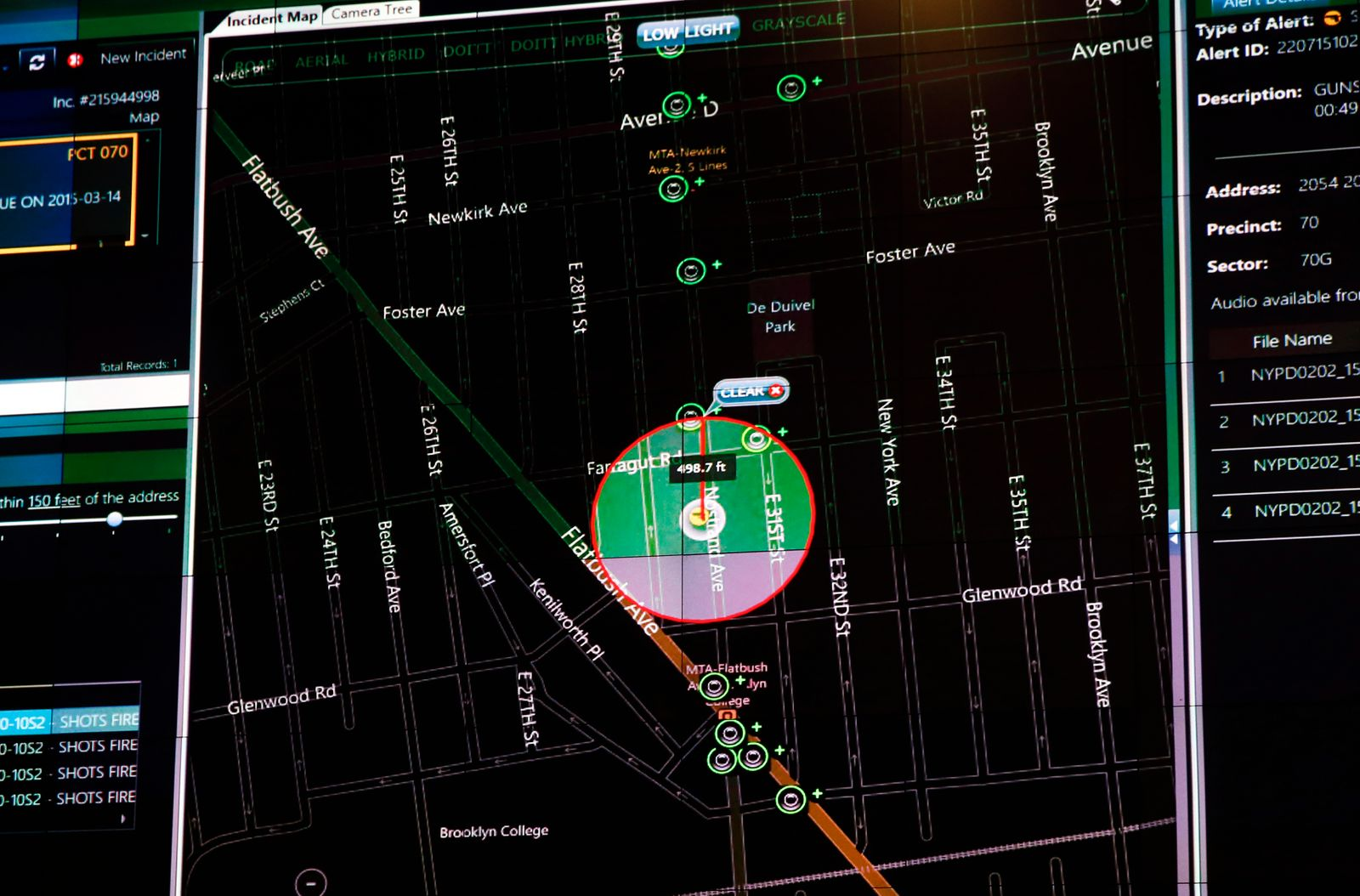 A display of the NYPD ShotSpotter gunfire-detection system is seen in New York