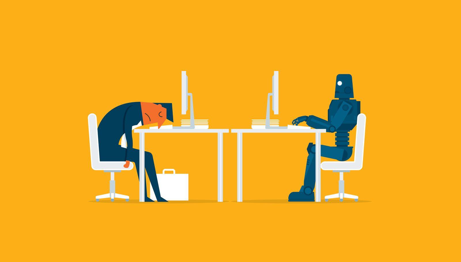 Robot vs man. Human humanoid robot work with laptops at desk