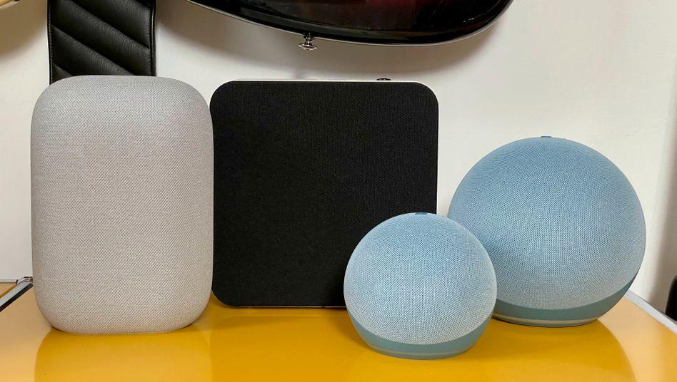 Smartspeaker Nest Audio, Braun LE-03, Echo dot und Echo