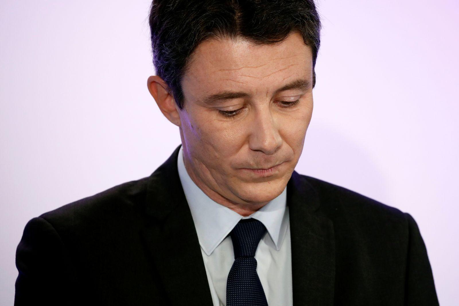 Benjamin Griveaux, La Republique En Marche (LREM) candidate for the upcoming Paris mayoral election, attends a news conference in Paris