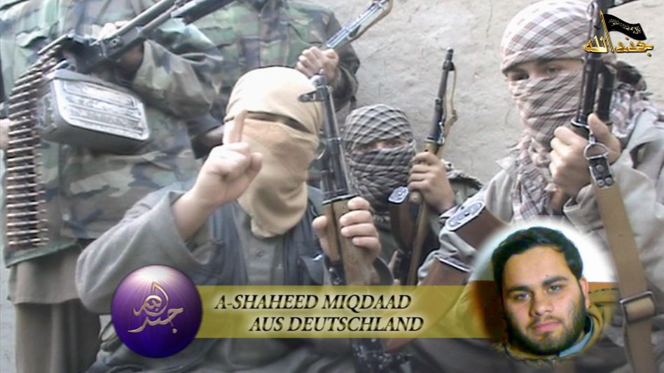"""A screenshot of the IMU video with a picture of """"Miqdaad"""" of Essen, who was allegedly killed."""