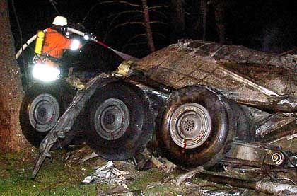 In der Nähe eines Wohngebiets wurde das Fahrwerk einer der Maschinen gefunden