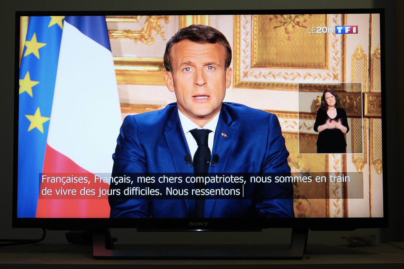 FRANCE - POLITICS - COVID 19 - EMMANUEL MACRON Intervention of the President of the French Republic, Emmanuel Macron, on