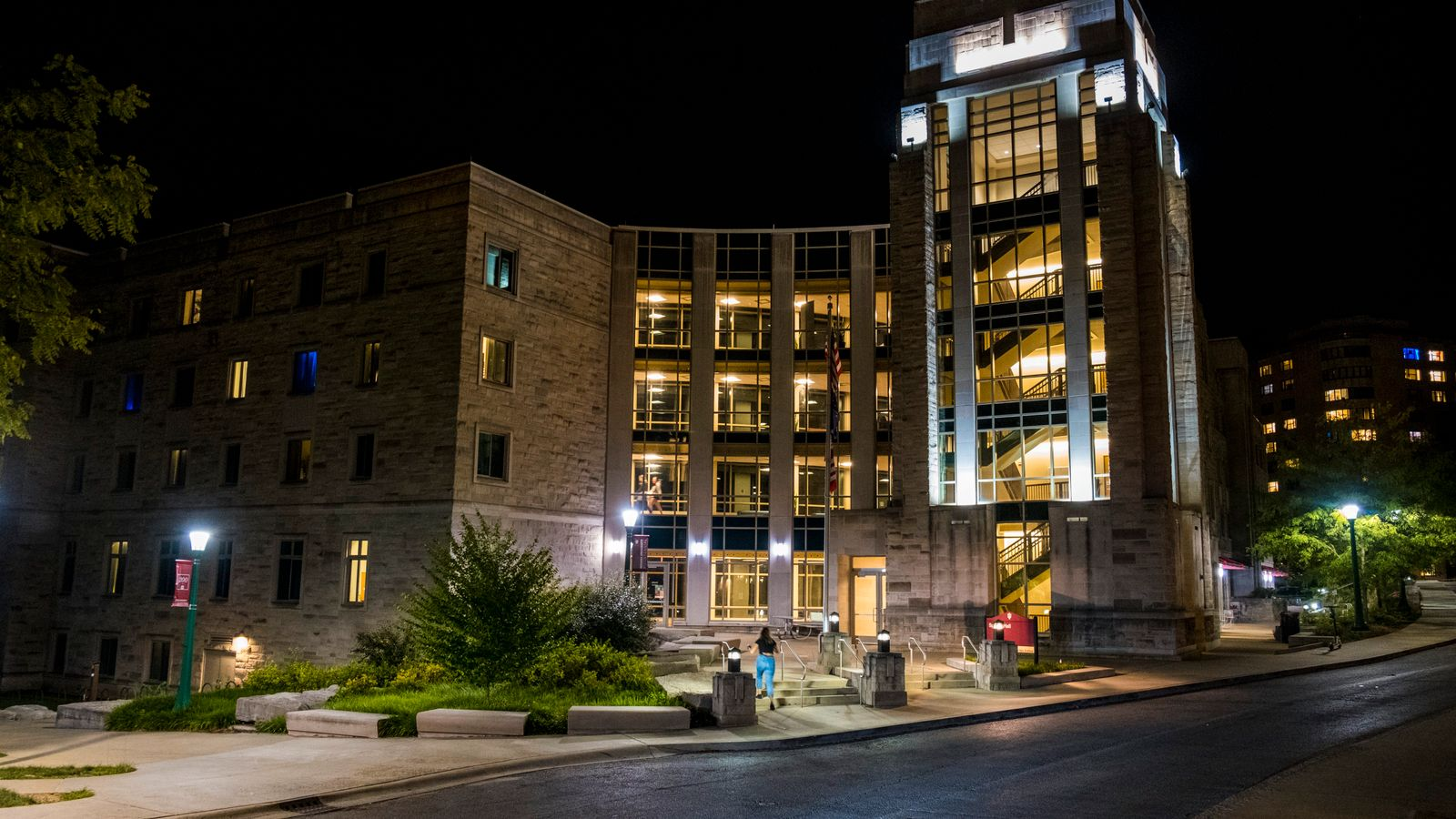 Exterior view of the Spruce Hall at the campus of Indiana