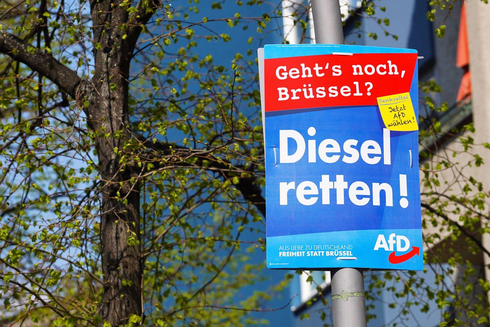 EINMALIGE VERWENDUNG AFD/ Wahlplaktat