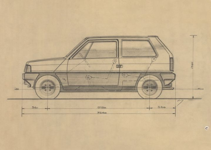 Designskizze des Fiat Panda