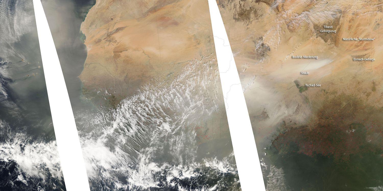 Satellitenbild Sahara Staub / Dünger