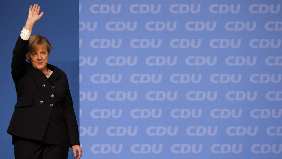Chancellor Angela Merkel at the Christian Democratic convention on Monday.