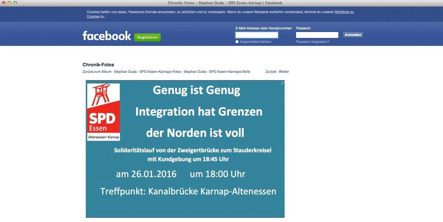 NUR ALS ZITAT Screenshot/ SPD/ Facebook/ Aufruf