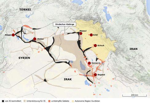 Gebietsverteilung im Irak (Stand: 12. August 2014)
