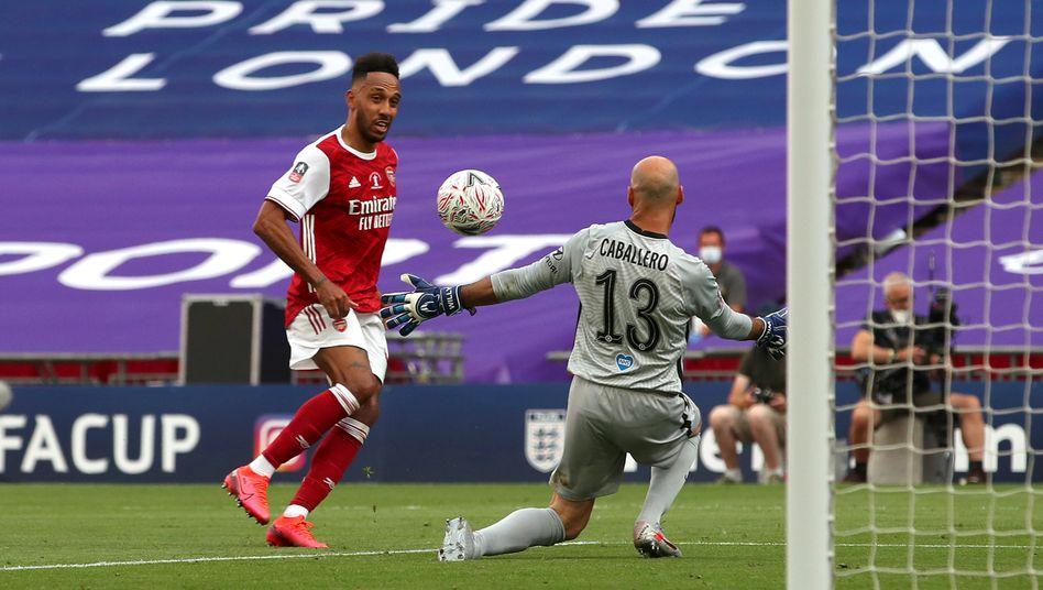 Aubameyang erzielte beide Finaltreffer für Arsenal