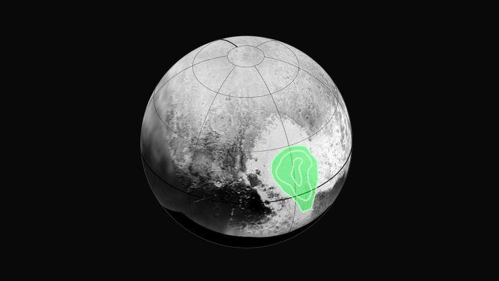Zwergplanet Pluto: Die entdeckte Ebene liegt inmitten einer hellen Region, die einem Herzen ähnelt