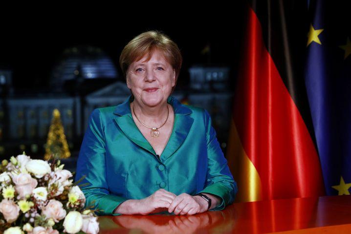 Angela Merkel bei ihrer Neujahrsbotschaft