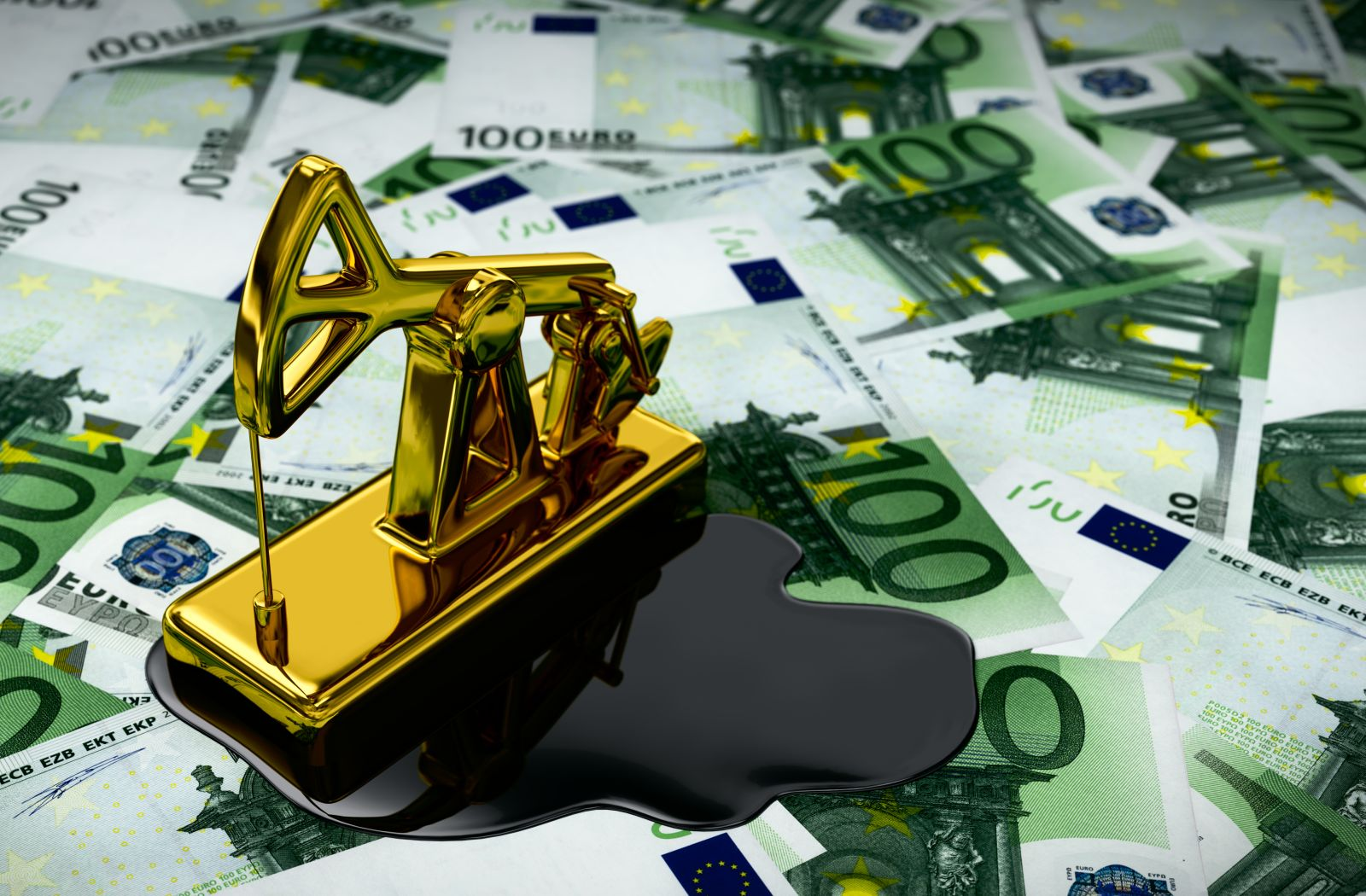 Gold Pumpjack And Spilled Oil On Euros