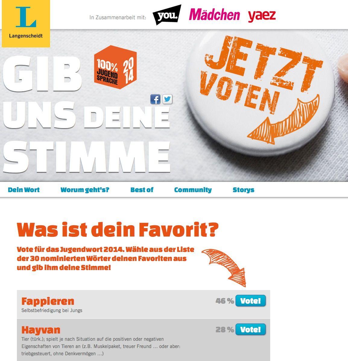 EINMALIGE VERWENDUNG jugendwort.de/ screenshot