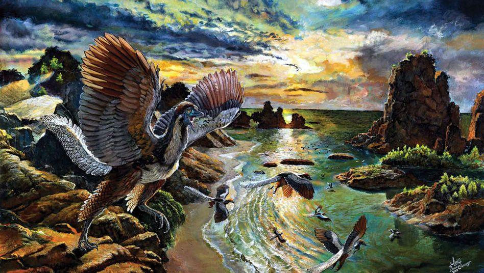 Rekonstruktion eines Archaeopteryx albersdoerferi (künstlerische Darstellung)