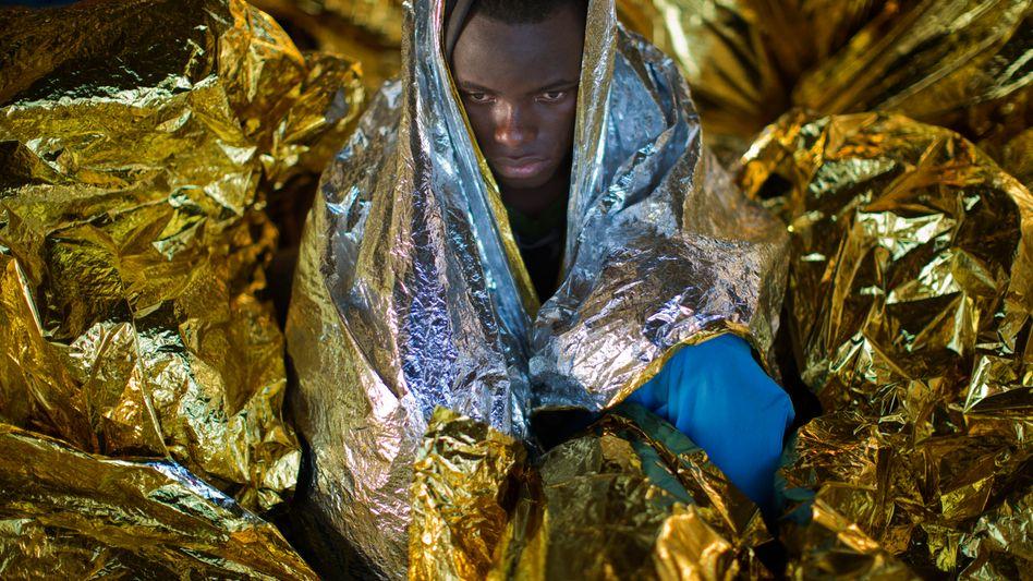 Vor der libyschen Küste geretteter Flüchtling