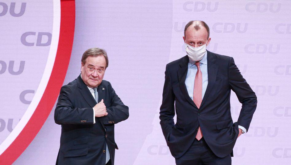 Laschet (l.) und Merz beim CDU-Parteitag
