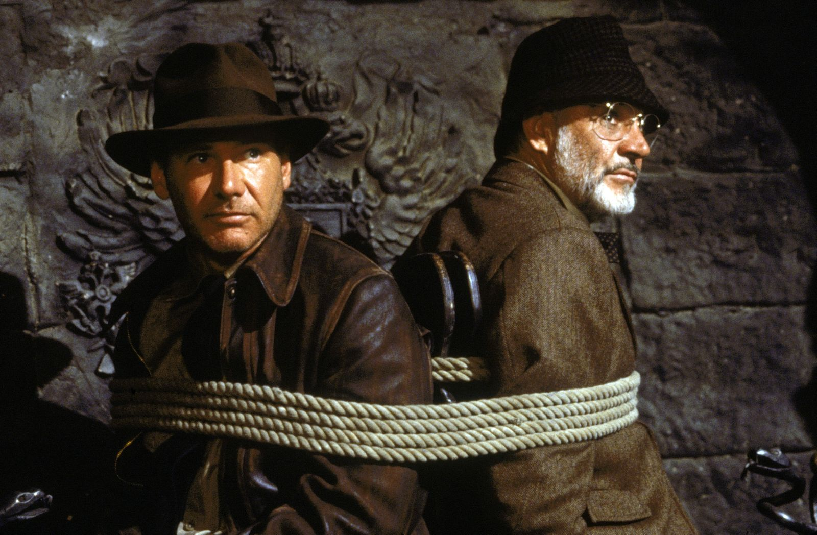 INDIANA JONES AND THE LAST CRUSADE, from left: Harrison Ford as Indiana Jones, Sean Connery 1989. ©P