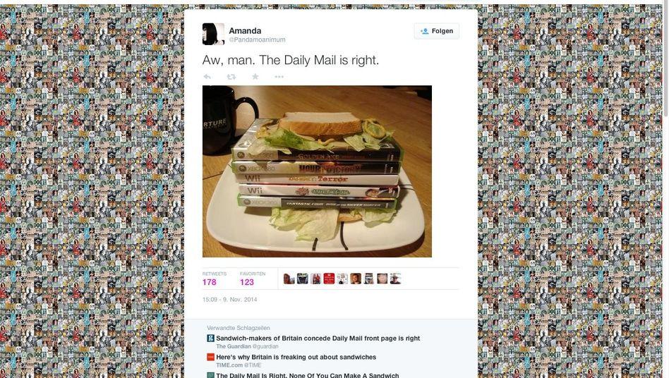 """Twitter-Post zu angeblich misslungenem Sandwich: """"Aw, man."""""""