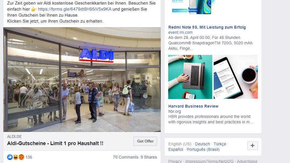 Gefälschter Aldi-Beitrag auf Facebook: Am besten als Betrugsversuch melden