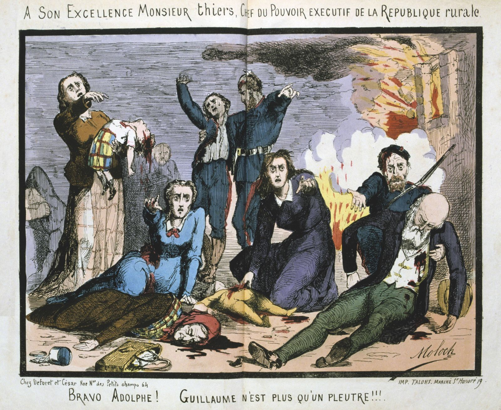 Cartoon by Moloch against the French politician Louis Adolphe Thiers Cartoon by Moloch against the F