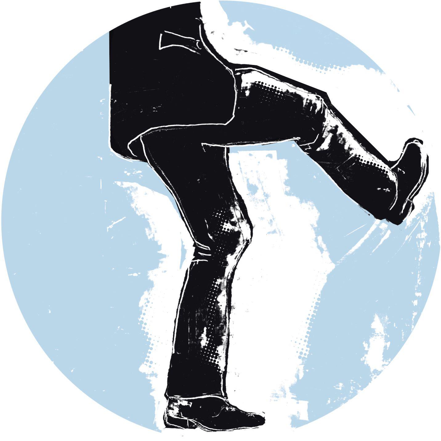 EINMALIGE VERWENDUNG Illustration zum Thema Arbeitsrecht. Beine, Mann, Tritt, ausrutschen, Fußtritt.