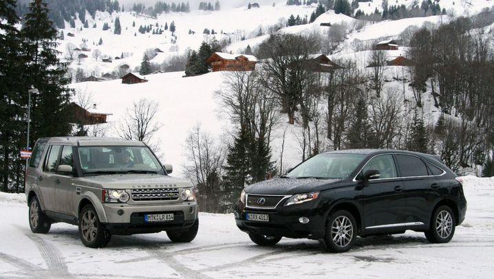 Doppeltest: Lexus - Land Rover: Spuren im Schnee