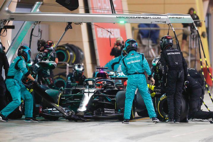 Chaos bei Boxenstopps des Formel-1-Teams von Mercedes gibt es eigentlich nur selten zu sehen