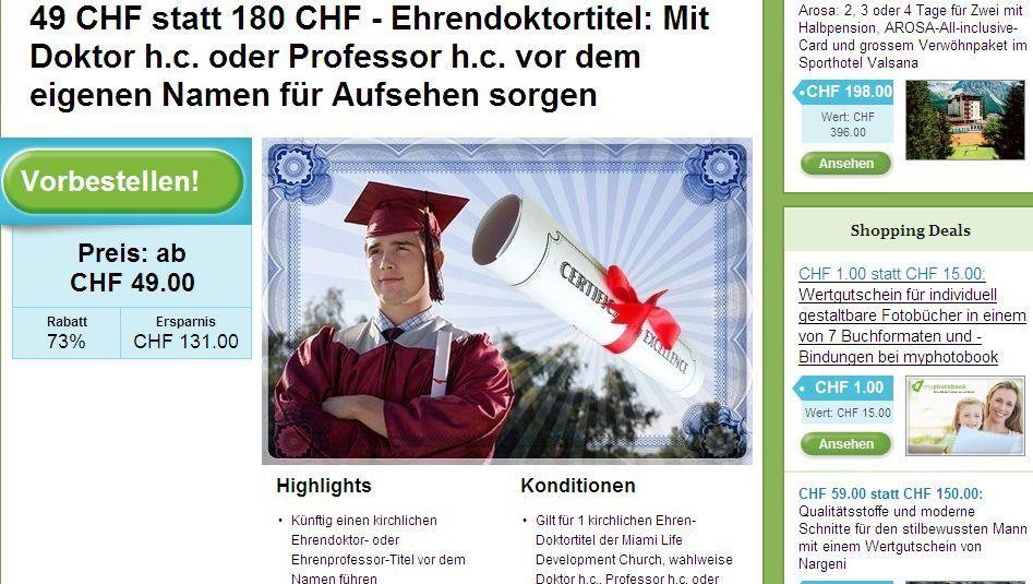 """Angebot auf www.groupon.ch: """"Mit Doktor h.c. vor dem Namen für Aufsehen sorgen"""""""