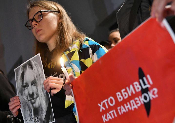 Demonstration für Säureopfer Kateryna Gandsjuk (Archivaufnahme)