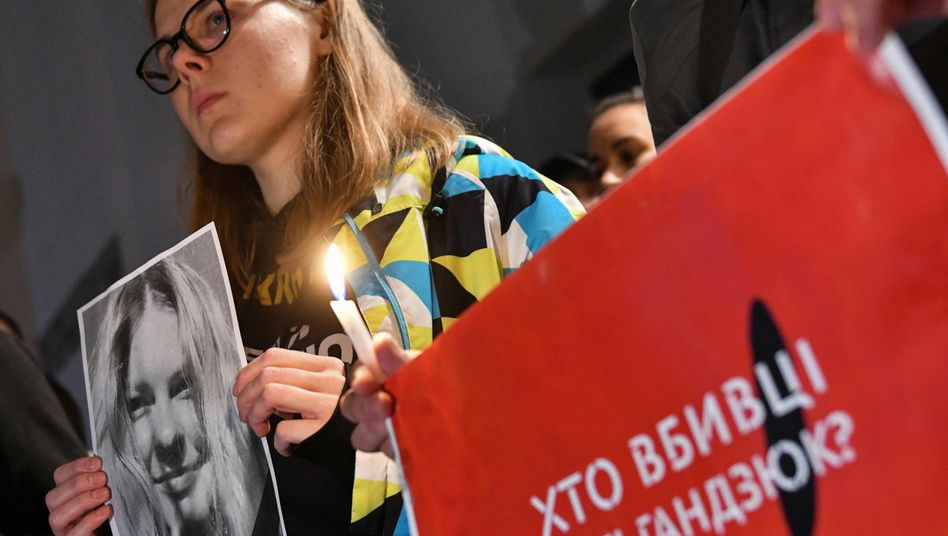 Demonstration für Säureopfer Kateryna Gandsjuk