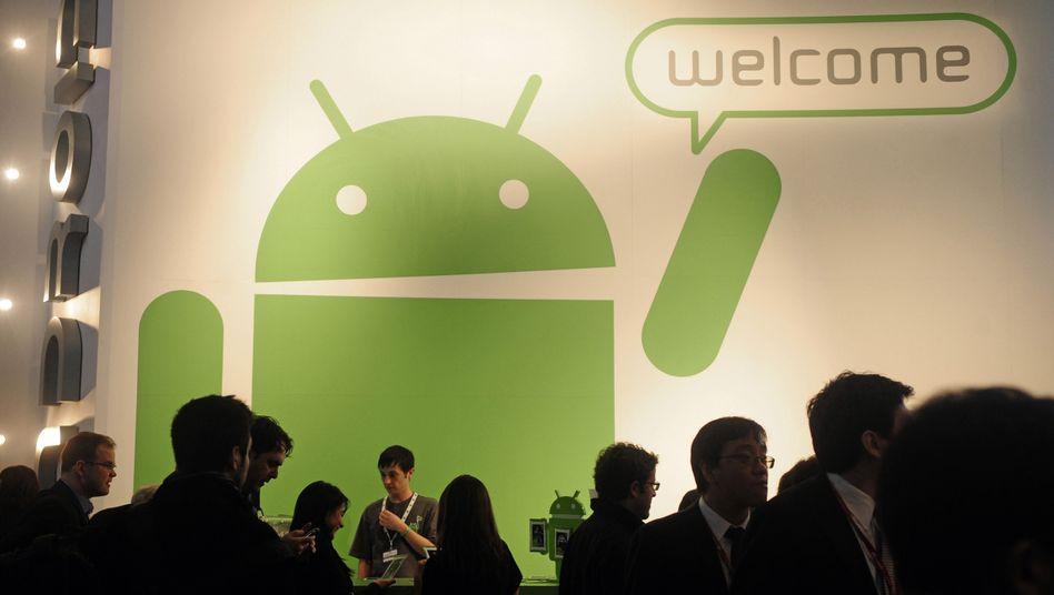 Android-Maskottchen auf einer Tech-Konferenz (Archivbild): Cyanogen will eine Android-Variante ohne Einfluss von Google