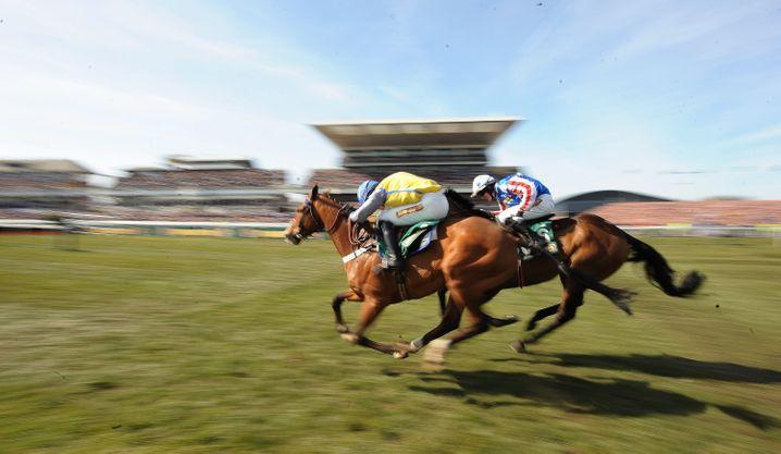 Auch bei Pferderennen kommen sich die Jockeys nah - laut Verband sollen sie deshalb mit Mundschutz reiten