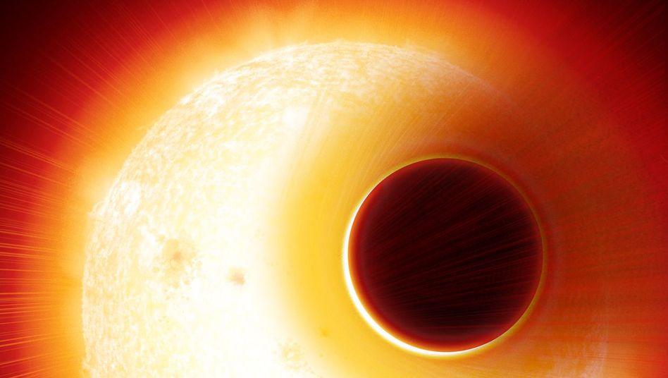 Exoplanet mit Heliumhülle (künstlerische Darstellung)