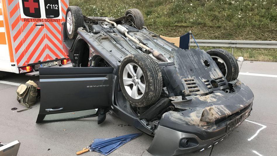 Unfallstelle auf der Autobahn 5