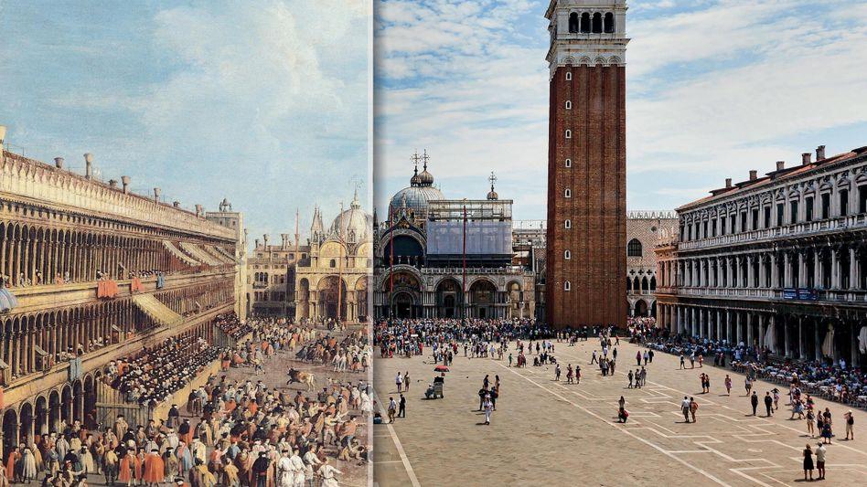 Markusplatz im Zeitenwandel (Montage; Links: Gemälde von Giovanni Battista Cimaroli, 1740)