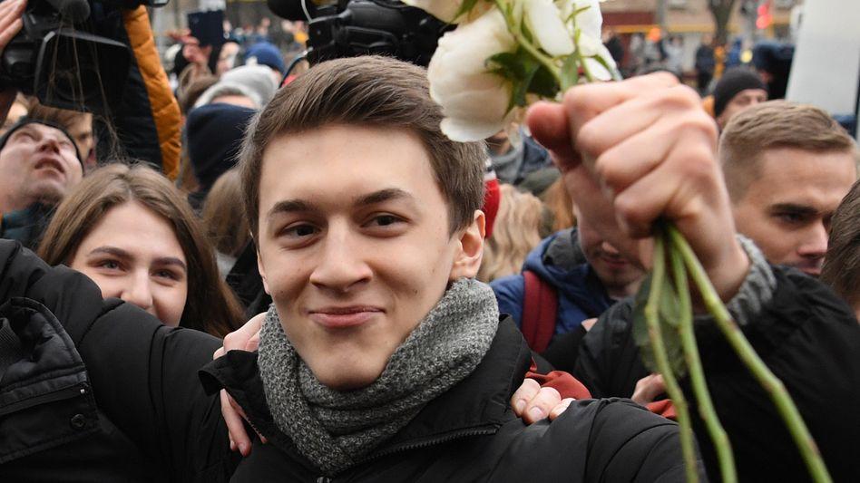 Jegor Schukow nach seiner Verurteilung im Dezember 2019: Dreijährige Freiheitsstrafe auf Bewährung