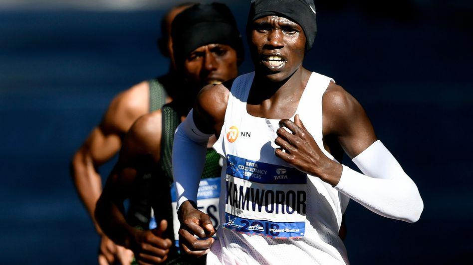 Geoffrey Kamworor aus Kenia, dieses Foto zeigt ihn beim New York Marathon 2018