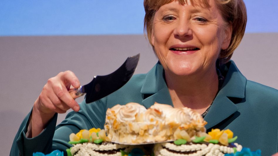 Don't forget the crumble: Chancellor Angela Merkel says her husband has few complaints about her cooking.