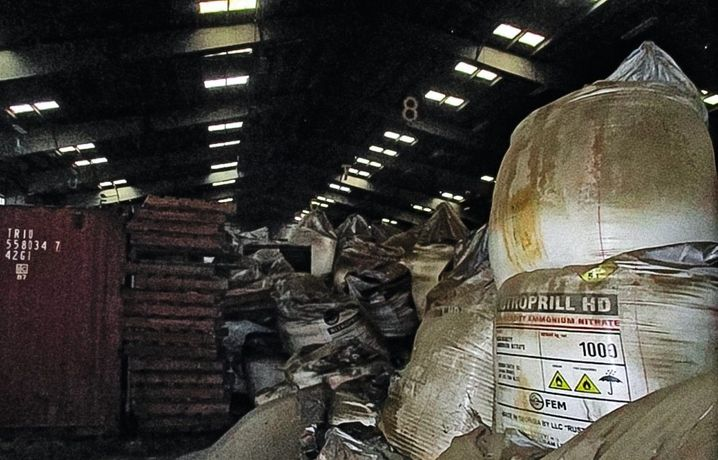 "Sacks of ammonium nitrate in Hangar 12: ""Heaped chaotically on top of each other."""