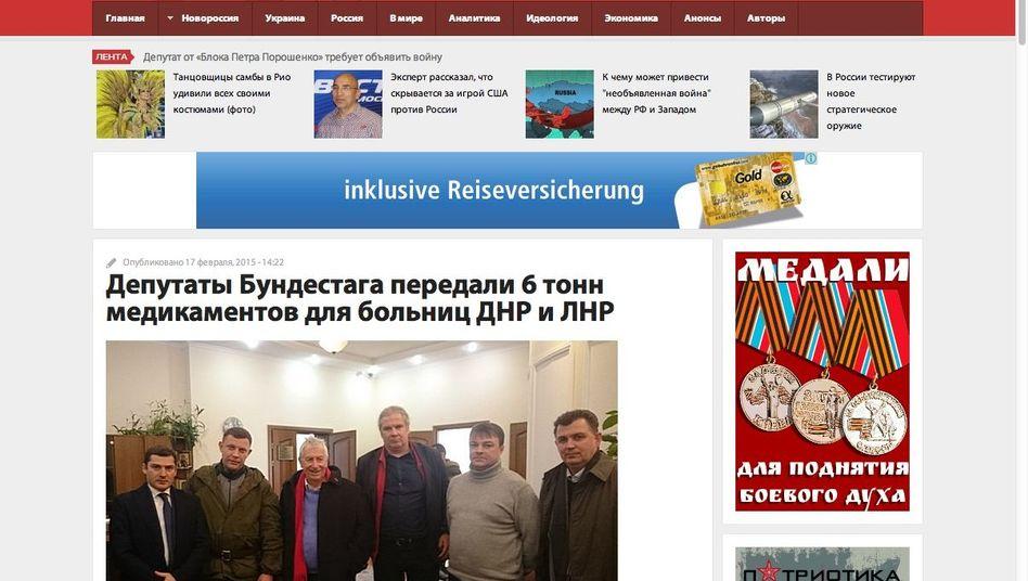 """Screenshot von """"novorussia.su"""": Separatistenführer Sachartschenko (2.v.l.), Gehrcke, Hunko"""