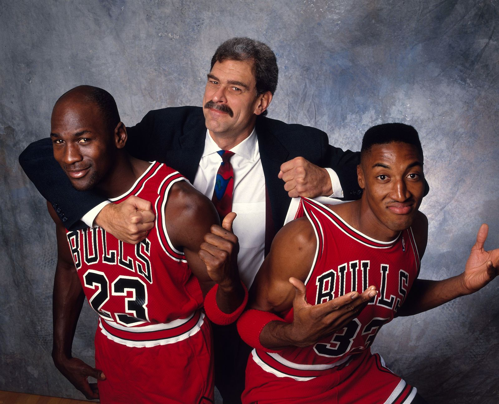 Chicago Bulls Coach Phil Jackson, Michael Jordan, and Scottie Pippen, 1991-92 NBA Basketball Preview Issue