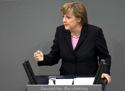 Opposition leader Angela Merkel stands to benefit from snap new elections. Her party leads in the polls.