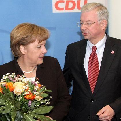 Gemeinsam im Umfragetief: Kanzlerin Merkel und Hessens Ministerpräsident Koch